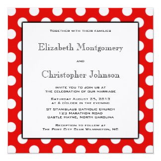 Rote und weiße Tupfen-Hochzeits-Einladung Karte