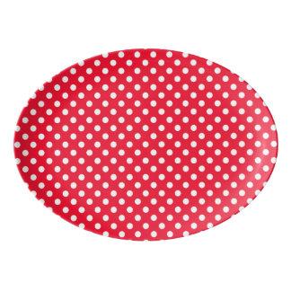 Rote und weiße Tupfen Porzellan Servierplatte