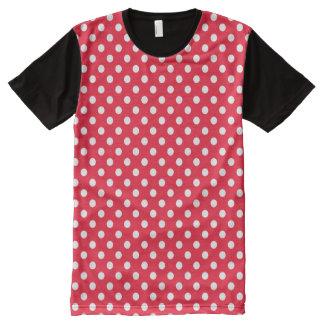 Rote und weiße Tupfen T-Shirt Mit Komplett Bedruckbarer Vorderseite