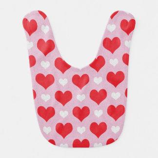 Rote und weiße Valentinsgrußherzen kopieren Babylätzchen
