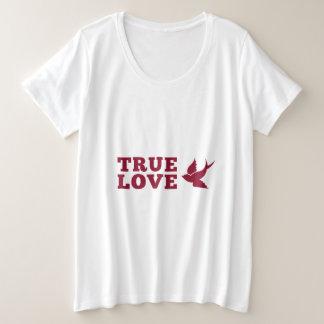 Rote und weiße wahre Liebe und Vogel Große Größe T-Shirt