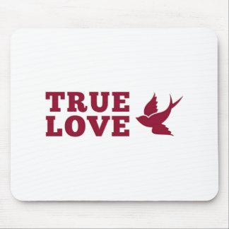 Rote und weiße wahre Liebe und Vogel Mauspads