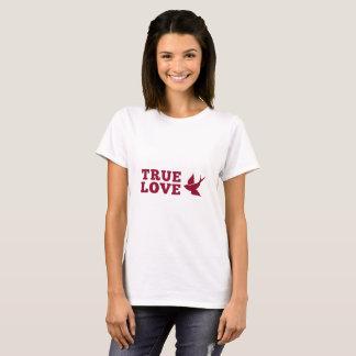 Rote und weiße wahre Liebe und Vogel T-Shirt