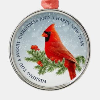 Rote Verzierung der Kardinals-Vogel-frohen Silbernes Ornament