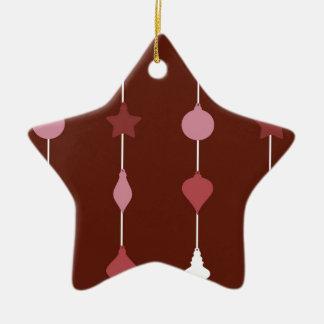 Rote Verzierungen Keramik Stern-Ornament