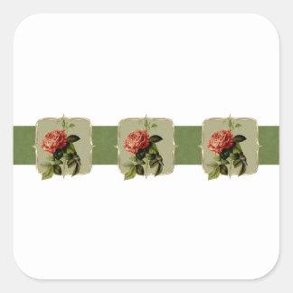 Rote Vintage Blumen weit Quadratischer Aufkleber