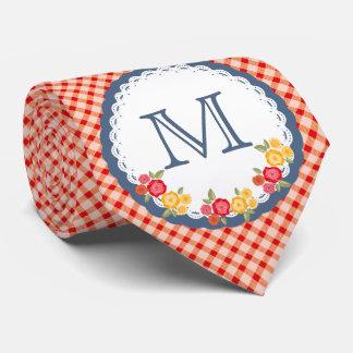 Rote Vintage Gingham-Blumen-Monogrammfrau Krawatte