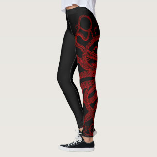 Rote Vintage Kraken-Tentakel-Illustration Leggings