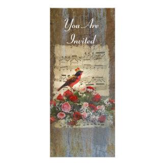 Rote Vogelcollage auf einem Vintagen Musikblatt Einladungen