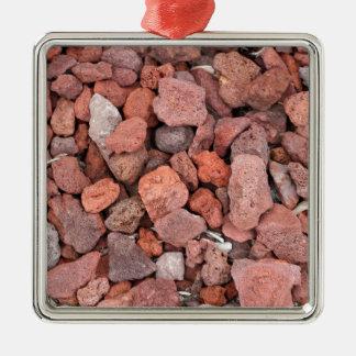 Rote vulkanische Felsen-Bodendecke Quadratisches Silberfarbenes Ornament