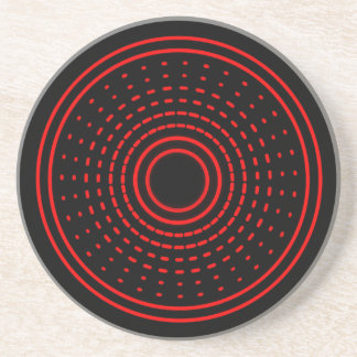 Rote Warnungs-abstrakter spinnender Gamma-heller Getränkeuntersetzer
