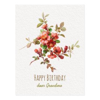 Rote Watercolor-Blumen alles- Gute zum Postkarte