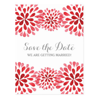 Rote Watercolor-Chrysantheme Save the Date Postkarte