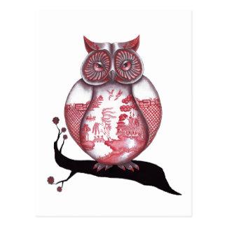Rote Weide-Eulen-Postkarte Postkarte