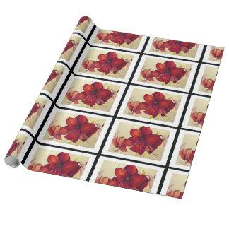 Rote Weihnachtsamaryllis deckte LeinenPackpapier Geschenkpapierrolle
