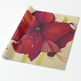Rote Weihnachtsamaryllis-glattes Packpapier