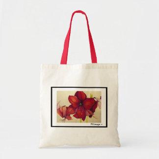 Rote Weihnachtsamaryllis-Taschen-Tasche Budget Stoffbeutel