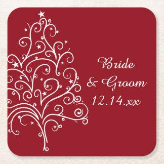 Rote Weihnachtsbaum-Winter-Hochzeit Rechteckiger Pappuntersetzer