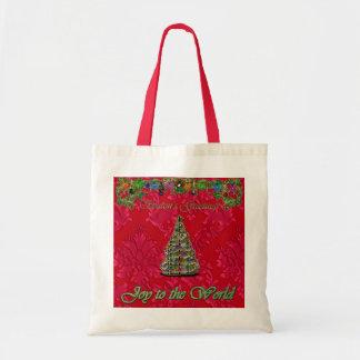 Rote Weihnachtsdamast-Freude zur Welttasche Tragetasche