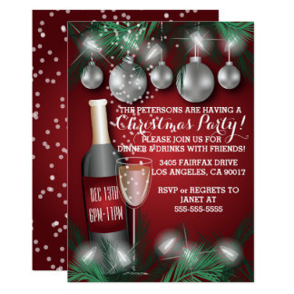 Rote Weihnachtsfeiertags-Abendessen-Party Karte