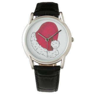 Rote Weihnachtsmann-Hut-frohe Uhr