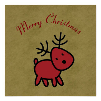 Rote Weihnachtsren-Illustration Poster
