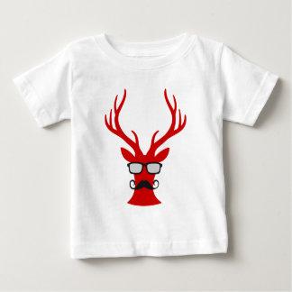 Rote Weihnachtsrotwild mit Schnurrbart- und Baby T-shirt