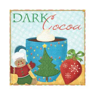 Rote Weihnachtsschale mit sahnigem Kakao Leinwanddruck