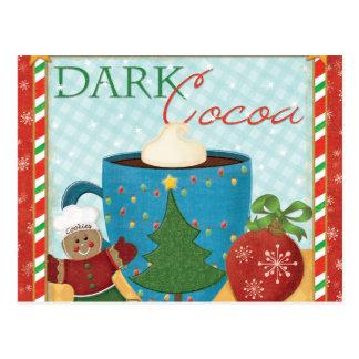 Rote Weihnachtsschale mit sahnigem Kakao Postkarte