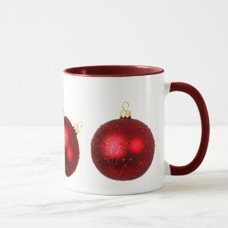 rote Weihnachtsverzierungs-Feiertags-Tasse Tasse