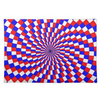 Rote weiße Blau-Spirale durch Kenneth Yoncich Tischset