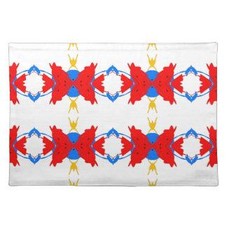Rote weiße blaue gelbe Jungen-Stammes- Muster Stofftischset