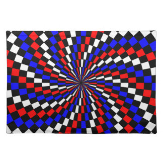 Rote weiße blaue Schachbrett-Spirale durch Kenneth Tischset