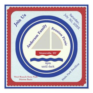 Rote, weiße, blaue Seepicknick-Einladung Quadratische 13,3 Cm Einladungskarte