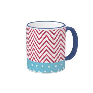 Rote weiße blaue Streifen-Sterne Ringer Tasse