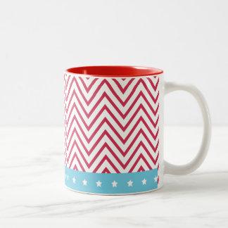 Rote weiße blaue Streifen-Sterne Zweifarbige Tasse
