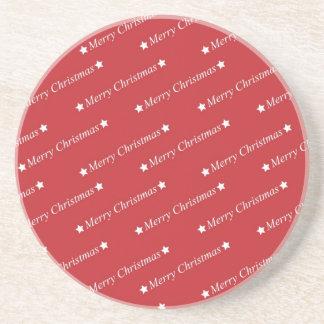 Rote weiße frohe Weihnachten Getränkeuntersetzer