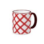 Rote weiße Quadrat-Retro Kaffee-Tasse