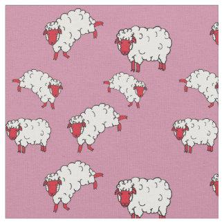 Rote/weiße Schafe/kleine Lämmer auf Rosa 2 Stoff