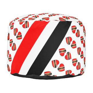 Rote weiße schwarze Trinidad-Herz-Flagge Hocker