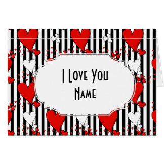 Rote weiße schwarze Valentinsgruß-Herz-Gruß-Karte Karte