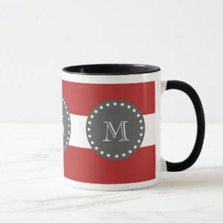 Rote weiße Streifen Muster, Holzkohlen-Monogramm Tasse