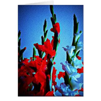 Rote, weiße u. blaue Blumenkarte Grußkarten