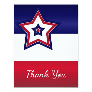 Rote weiße u. blaue Sterne danken Ihnen zu Einladungskarte