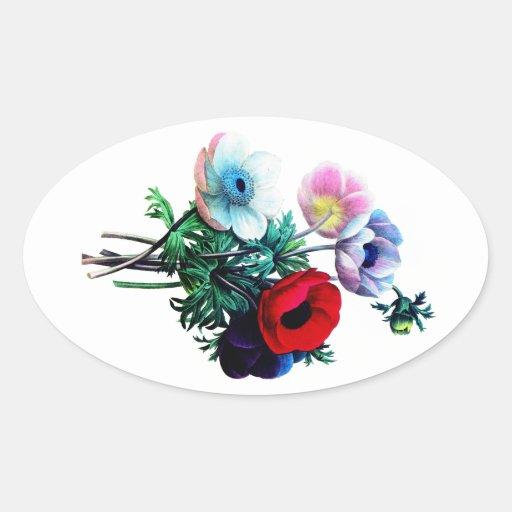 Rote weiße und blaue Anemonen durch Redoute Stickers