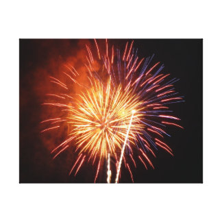 Rote, weiße und blaue Feuerwerke I Leinwanddruck