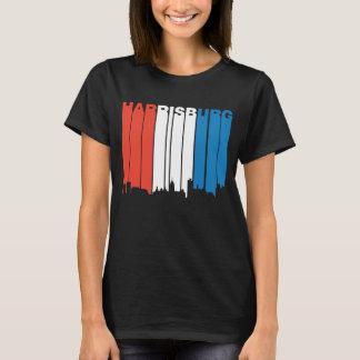 Rote weiße und blaue Skyline Harrisburgs T-Shirt