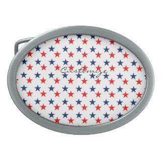 rote, weiße und blaue Sterne patriotisches Ovale Gürtelschnallen