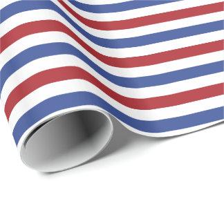 Rote weiße und blaue Streifen Geschenkpapier