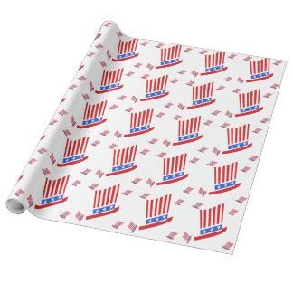 Rote weiße und blaue Streifen und Stern Einpackpapier